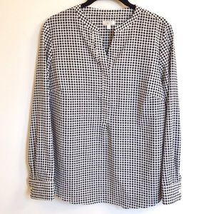 Talbots Houndstooth Long Sleeve Blouse
